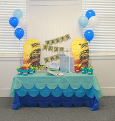 Surf Themed Birthday, Surf's Up Party, Blue and Green, Favors, Wave Tablecloth, Gift Table, Burlap Banner