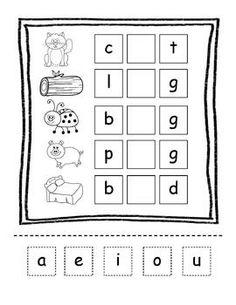 CVC words-beginning, middle, ending letters worksheet