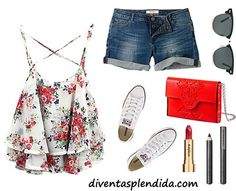 outfit rosso e blu per estate