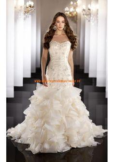 2013 Sexy luxuriöse Brautkleider aus Organza und Satin Meerjungfrau mit Perlen verziert