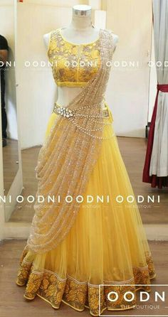 Sari style lehenga with waist chain Mehr Indian Gowns Dresses, Unique Dresses, Indian Designer Outfits, Designer Dresses, Yellow Lehenga, Gold Lehenga, Half Saree Lehenga, Yellow Gown, Lehnga Dress