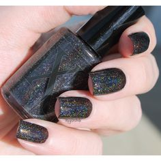 Mirror, Mirror Pitch Black Holographic Nail Polish Black Nail Polish... ❤ liked on Polyvore featuring beauty products, nail care, nail polish and nails
