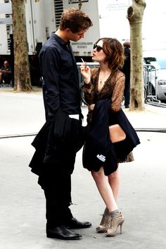 This is what she's like, and these are the conversations she has on the street. [Emily Browning candid.]