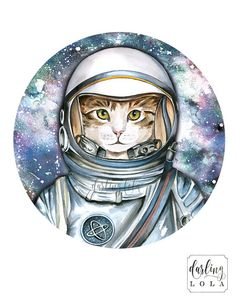 Cat Watercolor Print - Star Cat - Space Cat - Cat Painting  - Animal Art - Hipster - Cat Portrait - Astronaut Cat - Galaxy