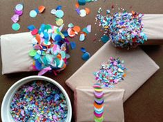 Wrap your gifts with confetti in Craft ideas for original gifts and presents