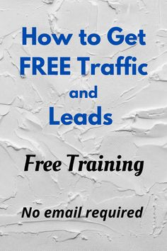 Strategies for getting free traffic to your website or squeeze page. Get more leads. Free training.