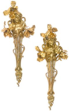A pair of Belle Époque style gilt bronze and gilt metal three light wall appliques Pottery Lessons, Wall Appliques, Bronze Chandelier, Wall Lights, Ceiling Lights, Iron Decor, Antique Lighting, French Furniture, Belle Epoque