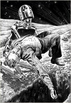 "Virgil Finlay illustration from the ""Golden Age"" of science fiction"