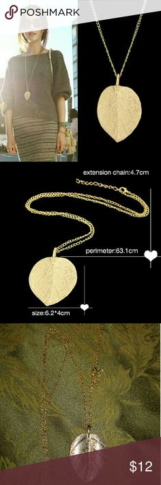 Gold Leaf Necklace Extra long gold plated chain with bright golden leaf pendant Jewelry Necklaces