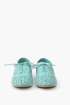 Cut-Out Oxford Flats - mint green #cutout #designtrend