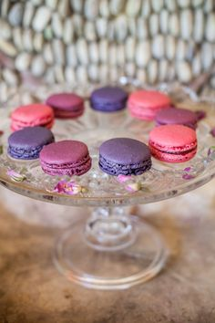 Pink and purple macarons