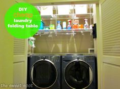 DIY laundry room makeover and organization with stainless steel folding table, Elfa ventilated shelving, and utility wall organizers Laundry Closet Organization, Diy Organization, Closet Storage, Organizing Ideas, Laundry Folding Tables, Closet Renovation, Laundry Room Inspiration, Diy Storage, Washer And Dryer