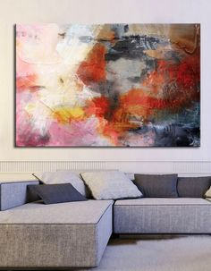 Abstract painting red red Pink grey print modern by BuyWallArt