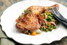 rosemary roasted chicken and fresh petit pois lardons