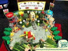 St David's Day Tuff Tray Small World Scene for Toddlers-EYFS Children St David, Saint David's Day, Tuff Tray, Sound Art, Play Ideas, Eyfs, Small World, Dream Team, Teaching Ideas