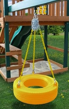 - Product Description - Product Specs - About Our newly designed tire swing is much better than you may remember from your childhood! This commercial grade tire swing is a totally enclosed design that Kids Outdoor Play, Backyard For Kids, Outdoor Fun, Diy Playground, Swing Set Accessories, Kids Yard, Tire Swings, Diy Tire Swing, Tyres Recycle