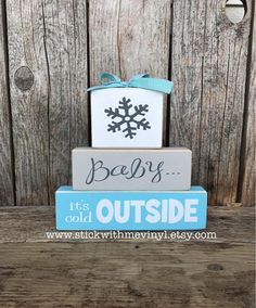 This listing is for one set of Winter / Valentine REVERISBLE blocks REVERSIBLE Frosty {the snowman} on side one and Be Mine {always and forever} on side two. I have painted the FROSTY side.. Dark gray paint w/ white vinyl letters Light gray paint w/ dark gray vinyl letters