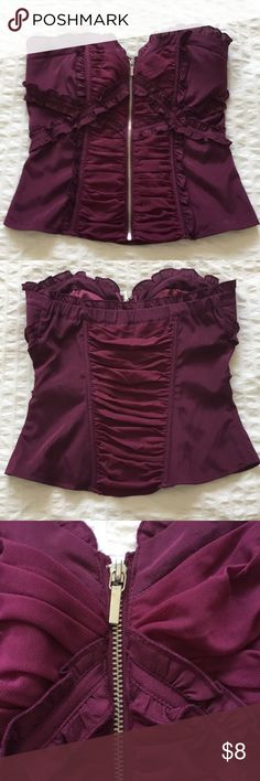 Bebe Strapless Corset Top Plum color. Silver zipper. Light padding in chest. bebe Tops Blouses