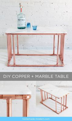 HomeMade Modern DIY Copper Marble Table Postcard