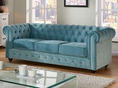 Sofá 3 plazas de terciopelo CHESTERFIELD - Azul pastel