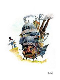 'Howl's Moving Castle Watercolor Print' by Ben Byrd