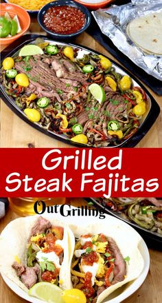 Grilled Steak Fajitas Recipe is the classic Tex-Mex dinner favorite. Made with thin sliced steak, peppers and onions that is served up on warm flour tortillas with cheese, sour cream and salsa. Just as good as your favorite restaurant version made right on your backyard grill! Steak Fajitas, Steak Fajita Recipe, Steak Recipes, Grilling Recipes, Vegan Kitchen, Kitchen Recipes, Tex Mex Essen, Juicy Steak, Food Recipes