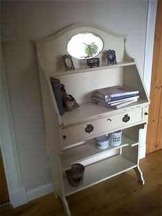 Vintage Upcycled Shelf Unit with mirror (converted writing bureau)