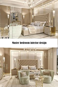 Unique interior design for a master bed room in gold & beige shades. Get more interior design ideas & inspiration by visiting our website. Master Bedroom Interior, Modern Master Bedroom, Bedroom Furniture, Bedroom Interiors, Mirror Bedroom, Mirror Furniture, Bedroom Décor, Large Bedroom, Trendy Bedroom