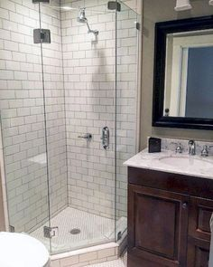 30 Popular Bathroom Shower Tile Design Ideas And Makeover. If you are looking for Bathroom Shower Tile Design Ideas And Makeover, You come to the right place. Below are the Bathroom Shower Tile Desig. White Subway Tile Shower, Subway Tile Showers, Tiled Showers, White Tile Shower, Glass Showers, Tiny House Bathroom, Modern Bathroom, Parisian Bathroom, Small Shower Bathroom