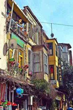 Colorful streets of Balat, the historical Jewish quarter in Istanbul.