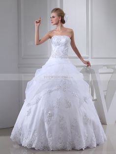 Strapless Organza and Satin Wedding Dress with Crystal Beadings