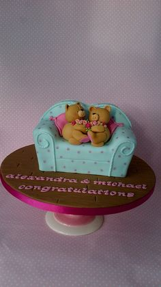 Forever Friends engagement cake by peggypal 1 ИЮНЯ 2014 Pretty Cakes, Cute Cakes, Beautiful Cakes, Amazing Cakes, Fondant Cakes, Cupcake Cakes, Valentines Day Cakes, Sculpted Cakes, Engagement Cakes