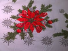 Vintage Christmas Tablecloth Poinsettia by melissasretroxmas, $65.00