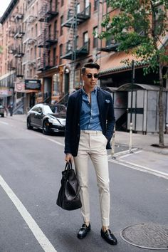 Blake Scott wearing Eton Slim Heathered Shirt, Gucci Trousers