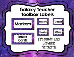Editable Galaxy Teacher Toolbox Labels by Taylor Hernandez Teacher Toolbox Labels, Teachers Toolbox, Teacher Organization, Teacher Tools, Organizing, Organized Teacher, Teacher Binder, Teacher Stuff, Space Theme Classroom