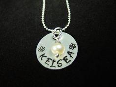 Flower Necklace, Flower Girl Gift, Flower Girl Necklace, Name Necklace, Flower…
