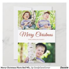 Merry Christmas Photo Red White Dot Holiday Card Merry Christmas Photos, Christmas Photo Cards, Christmas Greetings, Christmas Stuff, Personalised Christmas Cards, Holiday Greeting Cards, Family Picture Collages, Red And White, Eggshell