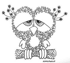Sleepless  3in x 3in. Ink on paper.  In Zentangle Land, Sleepless Owl is... well, sleepless. Why? Because it stays up all day zentangling.