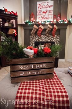 A plaid country Christmas. A Home Tour that makes you feel like your in the Northwoods in a cozy cabin! The floral arrangement is perfect for Christmas.