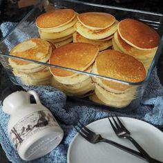 Glutenfrie Amerikanske pandekager - Home by Bianca Lchf, Keto, Pancakes And Waffles, Dessert Recipes, Desserts, Creme, Nom Nom, Paleo, By