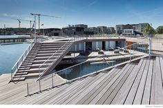 The Floating Kayak Club by Architects « Inhabitat – Green Design, Innovation, Architecture, Green Building Floating Architecture, Water Architecture, Architecture Design, Wooden Kayak, Vejle, Lakefront Property, Community Space, Floating House, Club Design