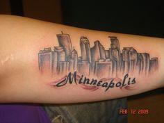 Minneapolis Skyline Tattoo by Tattoo Design Drawings, Tattoo Designs, Tattoo Ideas, Twin Tattoos, Skyline Tattoo, Minneapolis Skyline, Wells Fargo Center, Arm Tattoo, Tattoo Quotes
