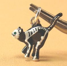 Sterling Silver Enamel Skeleton Kitty Cat Halloween Charm | eBay