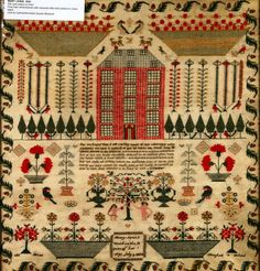 I just love the colors and composition of this antique sampler.  Stitched by Mary Lewis at the age of 13 in 1834.