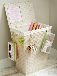 Use an old hamper and some hooks to make a gift wrapping station.