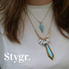 Turkoois Arrow & Fierce Statement Blue Necklace - Gold. Stygr. - Handmade Designs.   www.stygr.com
