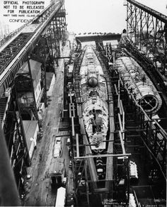 Submarines Springer (less complete) and Spot under construction, Mare Island Naval Shipyard, Vallejo, California, 3 Jan 1944. This photo was classified at the time of issue since it could have provided a wealth of technical information to the enemy.