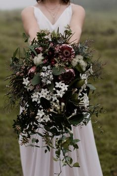 moody native Australian bouquet with banksia, jasmine and gum blossom