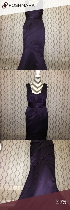 David's Bridal bridesmaid dress (Lapis) Satin mermaid style dress with ruching. Excellent condition. Below bust line to hem-47 inches (front), 50.5 inches (back). Across bust line-17 inches. David's Bridal Dresses