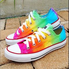 RAINBOW CONVERSE Custom Tie Dye Converse - Get yours today! These are made to order hand dyed on genuine converse brand shoes. All sizes are Converse All Star, Mode Converse, Tie Dye Converse, Rainbow Converse, Tie Dye Shoes, How To Dye Shoes, White Converse, Converse Sneakers, Rainbow Shoes